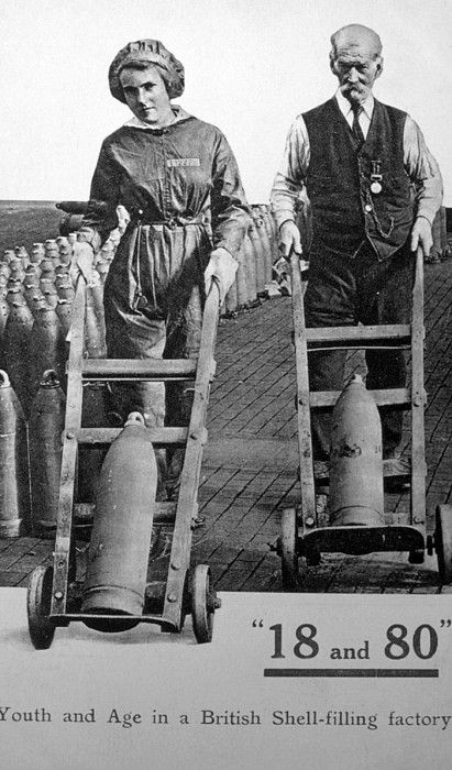 """World War I, munitions factory workers in England -- """"Young Women and Old Men"""" - the young men were off being slaughtered."""