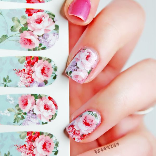 12Pcs Nail Art Water Decals Transfer Stickers Chic Bloomy Floral ...