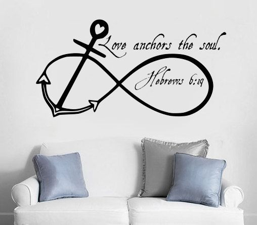 """LOVE ANCHORS SOUL Wall Art Decal Quote Words Lettering Home Decor Sticker 36/"""""""