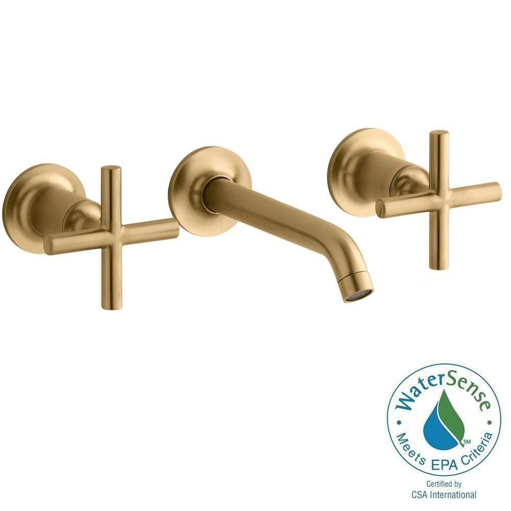 KOHLER Purist Wall-Mount 2-Handle Water-Saving Bathroom Faucet Trim ...