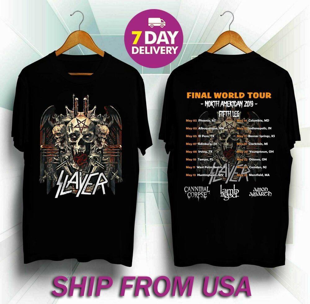 Slayer Band Final Wolrd Tour 2019 Fifth Leg Long Sleeve T shirt S to 3XL MEN/'S