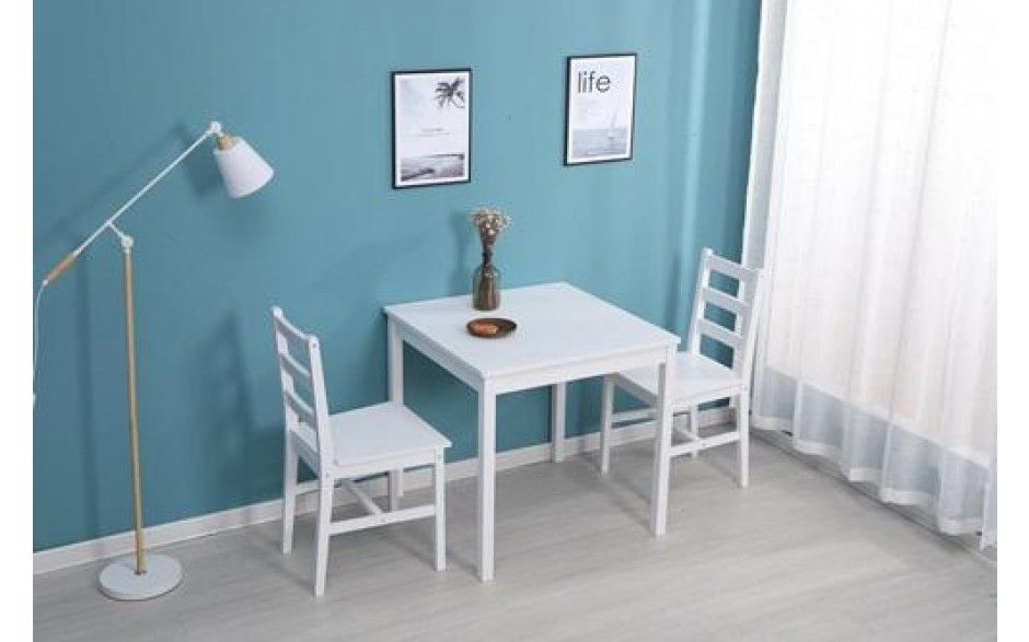 Small Dining Table Set With 2 Chairs Solid Pine Wood White Small