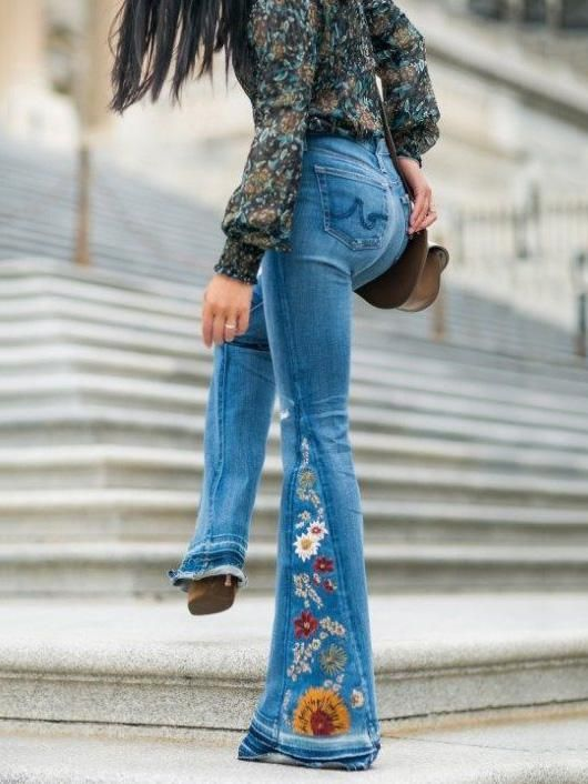 Embroidered Jean Bell Bottoms Gypsy Boho Style In 2019