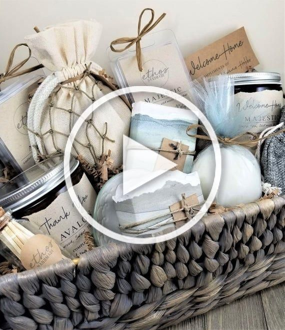 12pc. Seaside SPA GIFT BASKET | Soy Candles and Hand Soap | Housewarming Gift Ba…