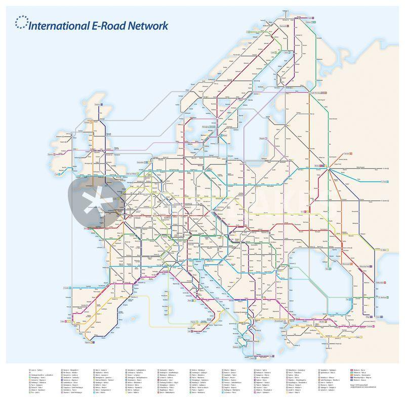 """""""International E-Road Network"""" Grafik/Illustration von Cameron Booth jetzt als Poster, Kunstdruck oder Grußkarte kaufen.."""