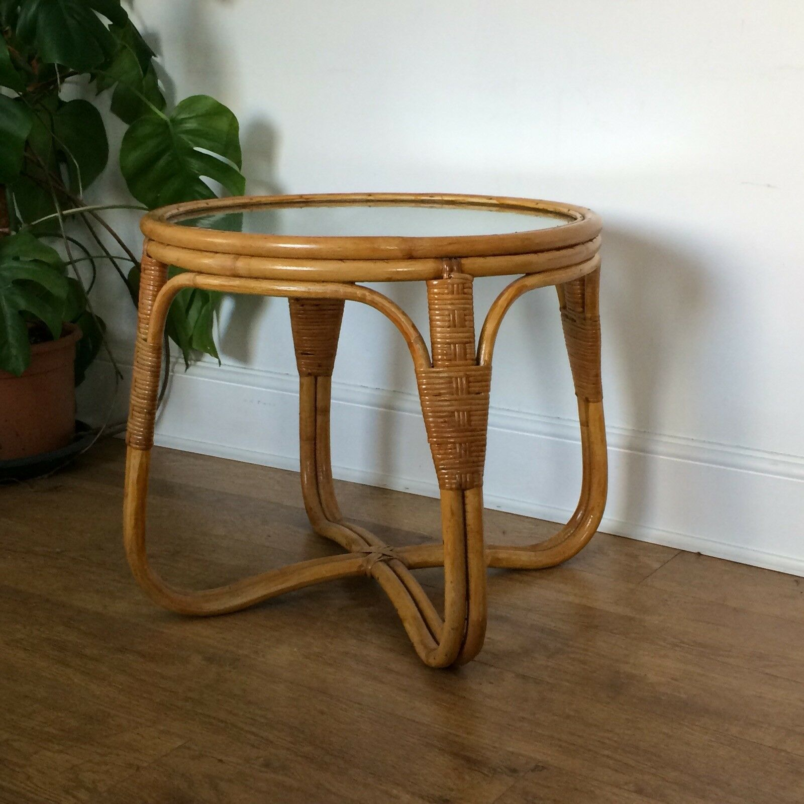 Vintage 1960s 1970s Angraves Invincible Bamboo Rattan Wicker Round Side Table Side Table Round Side Table Rattan