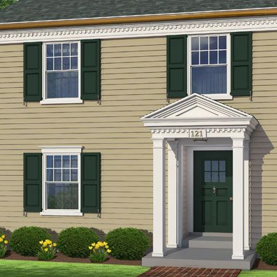 Photoshop redo dressing up a flat facade colonial for Colonial window designs
