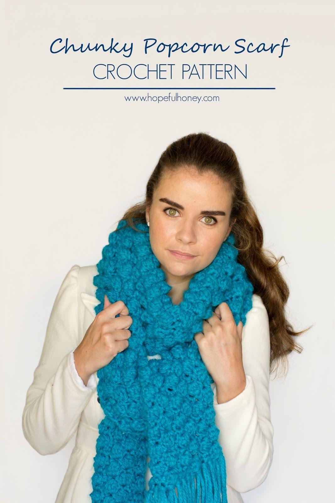 Chunky Popcorn Scarf Crochet Pattern   Ganchillo, Accesorios de ...