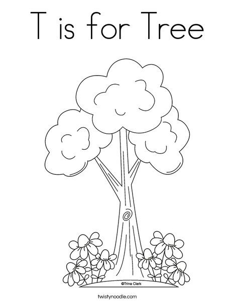 T Is For Tree Coloring Page Twisty Noodle Tree Coloring Page