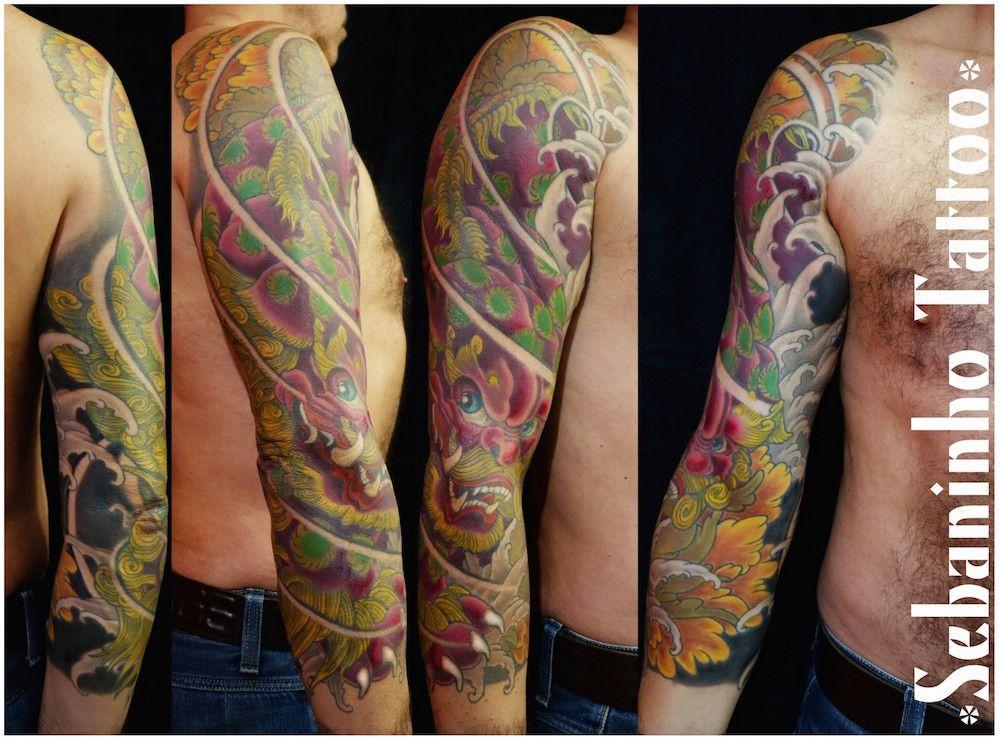 Tatouage japonais shishi manchette Sebaninho Tattoo