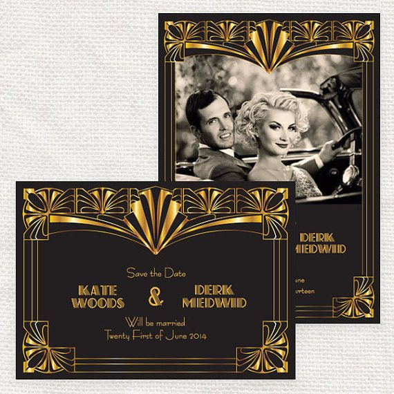 GATSBY FLORAL Invitations Birthday Shower Gold /& Black Customize Free Sweet Sixteen Wedding Roaring 20s Save the Dates