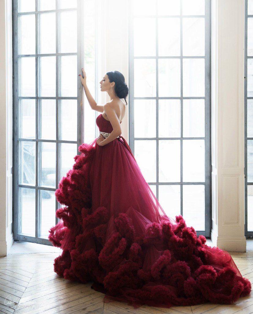 f85df5488db Платье облако винно-бордового цвета