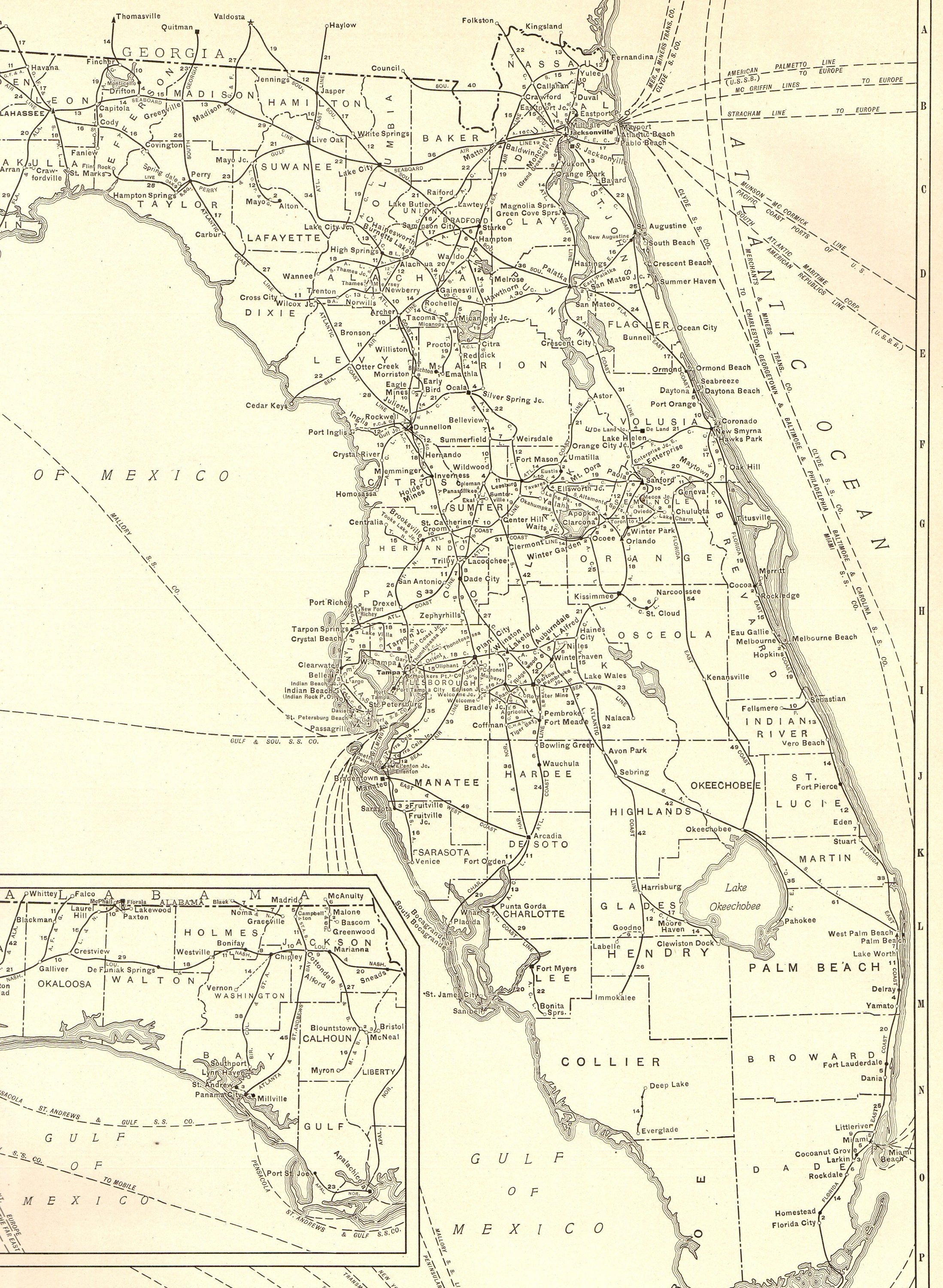 1927 Rare Size Antique Florida Map Vintage Map Of Florida Poster