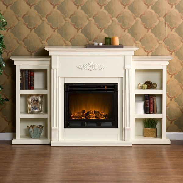 Southern Enterprises Tennyson Electric Fireplace w/ Bookcases - Ivory