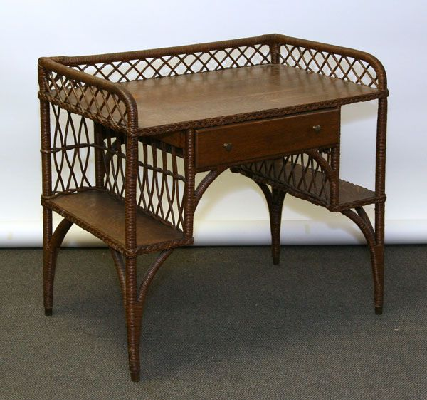 Kaltex Furniture woven wicker and oak writing desk - Kaltex Furniture Woven Wicker And Oak Writing Desk Antiques