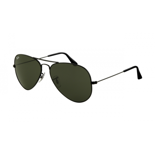 01201fcbf0b Ray Ban RB3025 Aviator Sunglasses Shiny Black Frame Crystal Deep Green Lens
