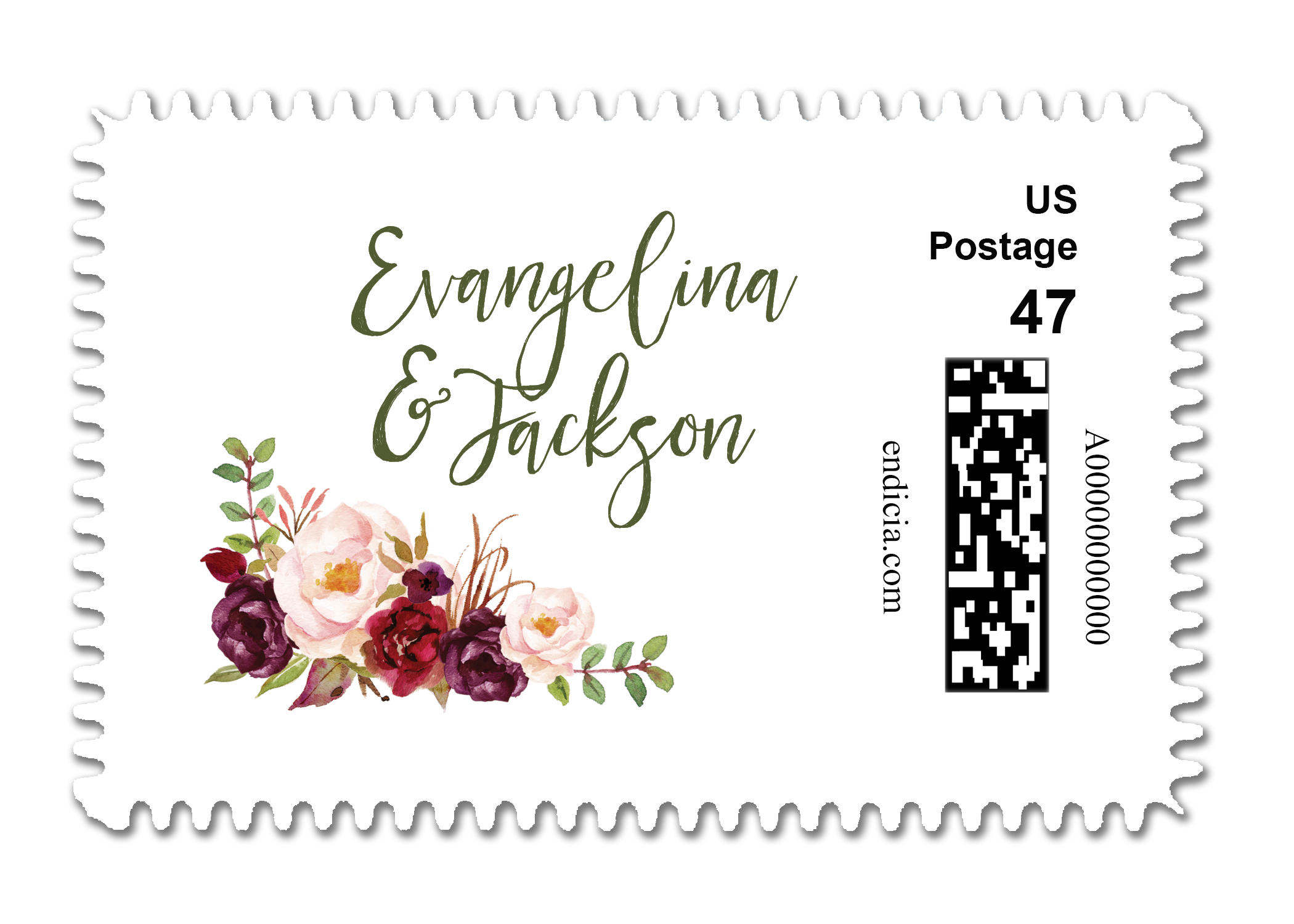 Wedding Stamps Custom Postage Personalized Fl
