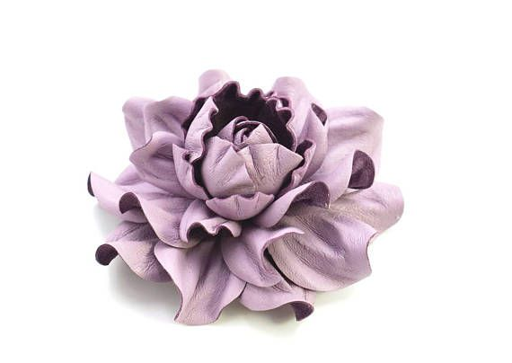 Luxurious Genuine Real Lilac Leather Flower Brooch Pin Light Purple Rose Brooch 3 Handmade Realistic Leather Floral Jewelry Of Ukraine Moda