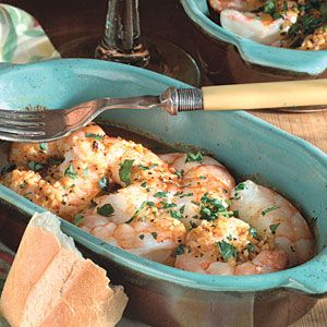 Baked Shrimp In Lemony Garlic Sauce       Ready in less than 20 minutes, these simple baked shrimp tossed in an indulgently rich lemon butter sauce boast just 120 calories per serving. Sop up any extra sauce with a 1 1/2-ounce slice of crusty French bread for an additional 100 calories.