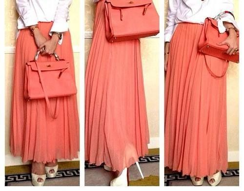 Coral maxi skirt hijab look