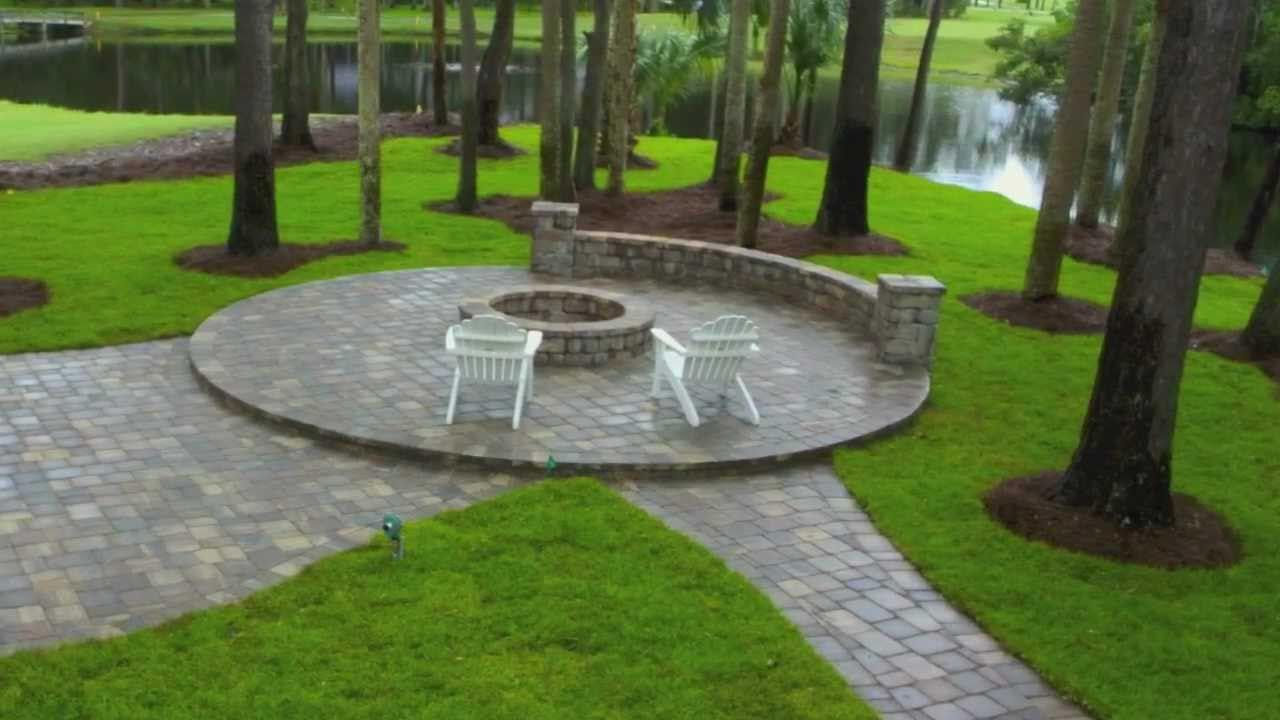 Ponte Vedra Paver Patio Design And Construction With Seat Wall Fire Pit