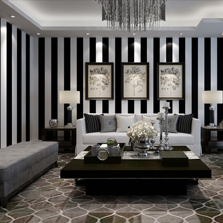 Beibehang Black And White Stripes Wallpaper For Walls 3 D M