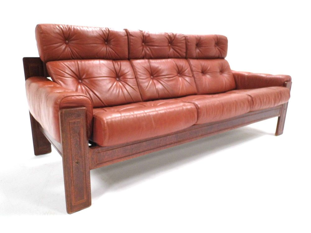 Vintage Scandinavian Tan Brown Leather Ekornes 3 Seater Sofa Midcentury 1970s Seater Sofa 3 Seater Sofa Sofa