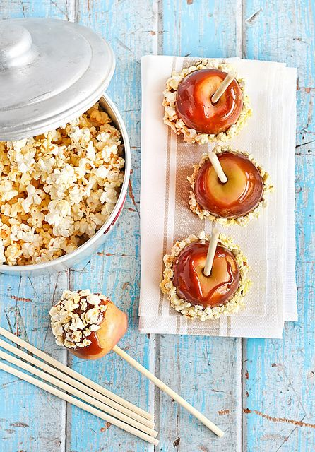 Salted Caramel Apples with Popcorn by raspberri cupcakes