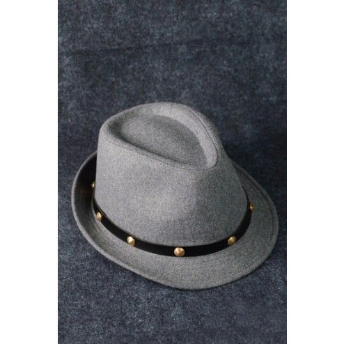 Fedora Hat Trend Fashion Fall Winter Hipster Gold Studded Hat Gray $15 only www.monrevecollection.com
