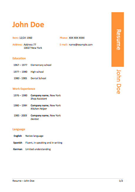 Windows  Resume Template  Free Resume Template
