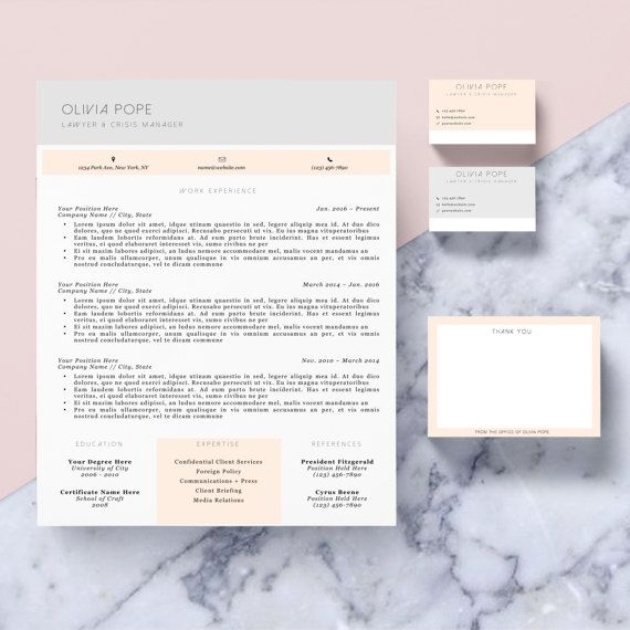 Resume Template Package CV Template + Cover Letter + Business Card