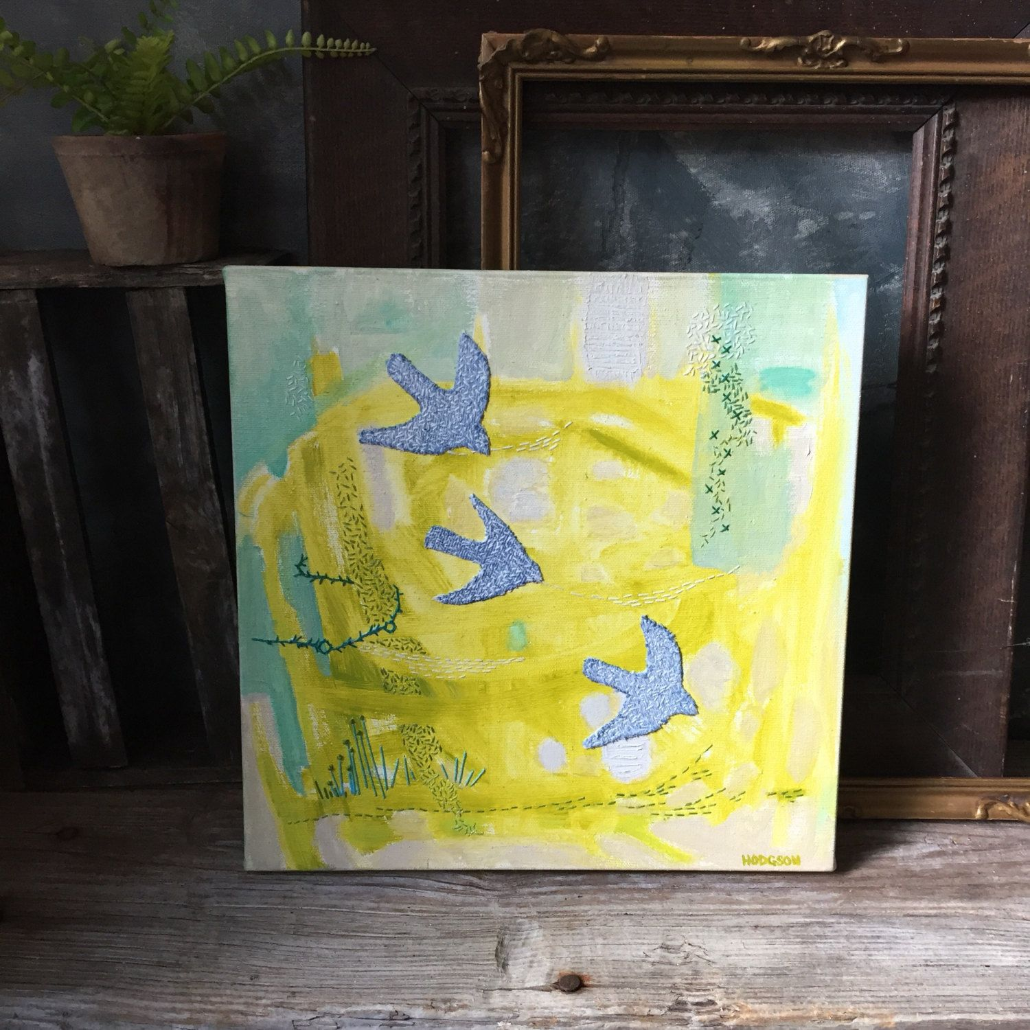 Swallows Flying Painting, Original Mixed Media Painting, Embroidered ...