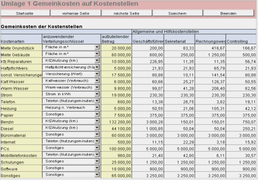 Betriebsabrechnungsbogen Beispiel Rechnungswesen 11