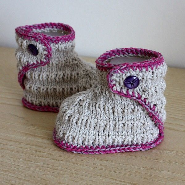 Kniting Pattern (PDF file) STREAM Baby Booties (sizes 0-6/6-12 ...