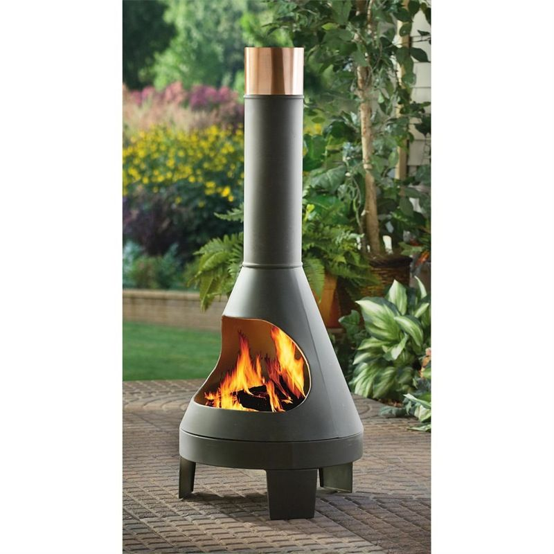 Steel Chiminea 53 95 Free S H Modern Outdoor Fireplace Outdoor Fireplace Designs Wood Burning Fire Pit