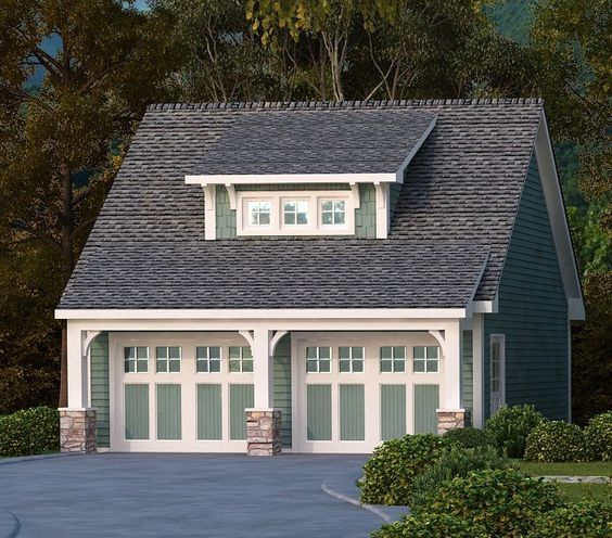 1 1 2 Story Two Car Garage With Loft Storage: Craftsman Style Det Garage Garage