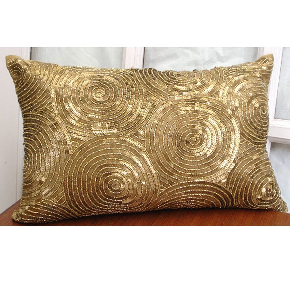 Decorative Oblong Lumbar Pillow Cover Accent Pillow Couch Etsy Gold Pillows Silk Pillow Cover Throw Pillows