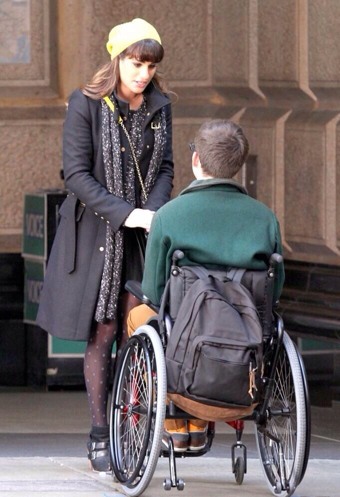 Lea and Kevin shooting for Glee