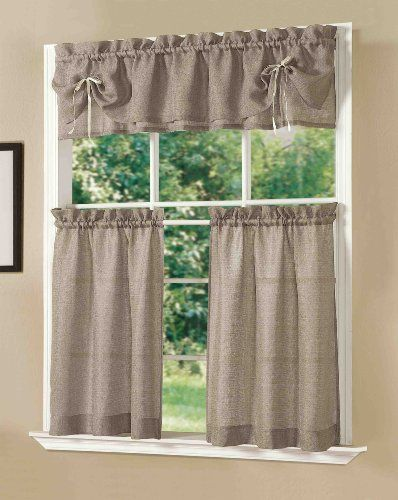 Dainty Home Lucia Kitchen Curtain Set Taupe Dainty Home Http