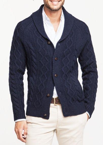 Shawl collar cable-knit cardigan – Men