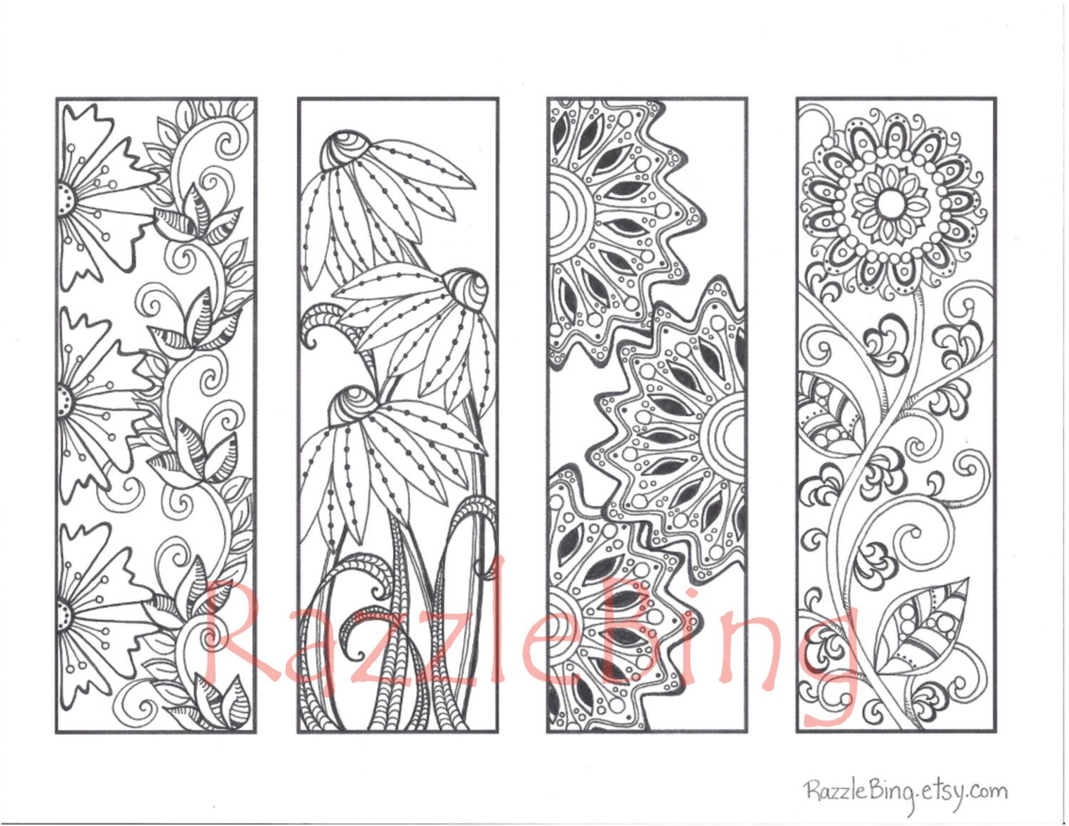 Valentine bookmark to color - Diy Bookmark Printable Coloring Page Zentangle Inspired Spring Flowers Zendoodle Doodle Pdf Instant Download
