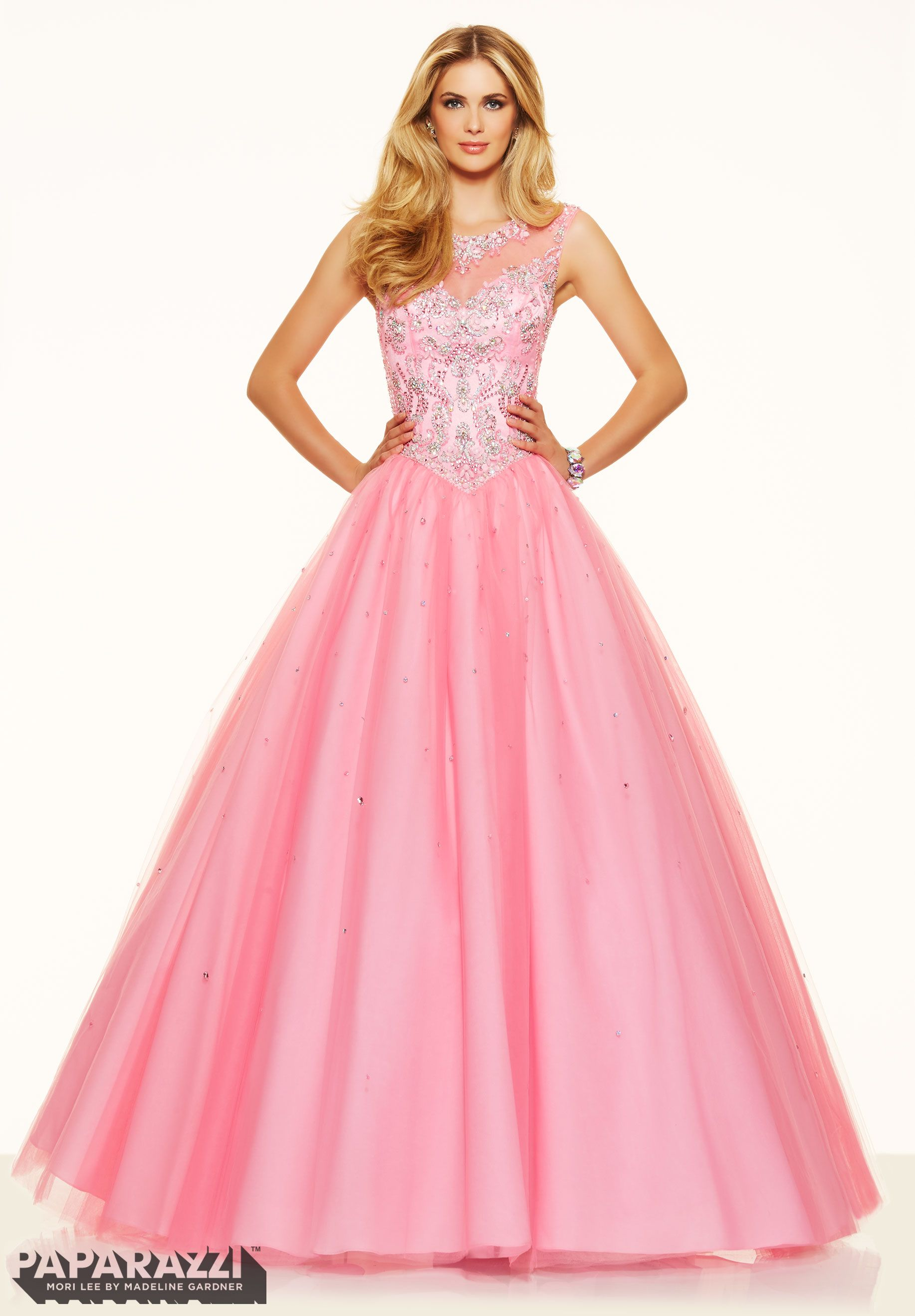 Prom Dress 98063 Jeweled Beaded Bodice on a Tulle Ball Gown Light ...