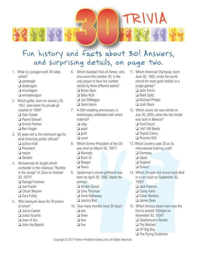 Birthday Party Number 30 Trivia 695 Birthday Party Printable
