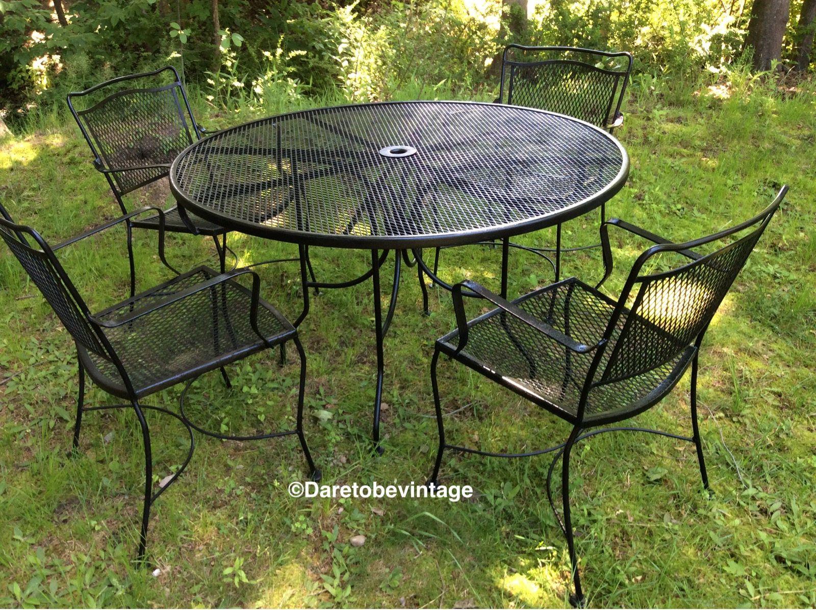 vintage black wrought iron patio set