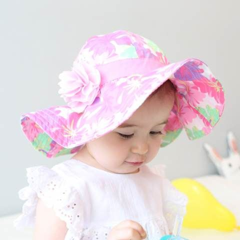 Pink flower sun hat for baby girls summer best UV sun protection hat ... ca8239b5718