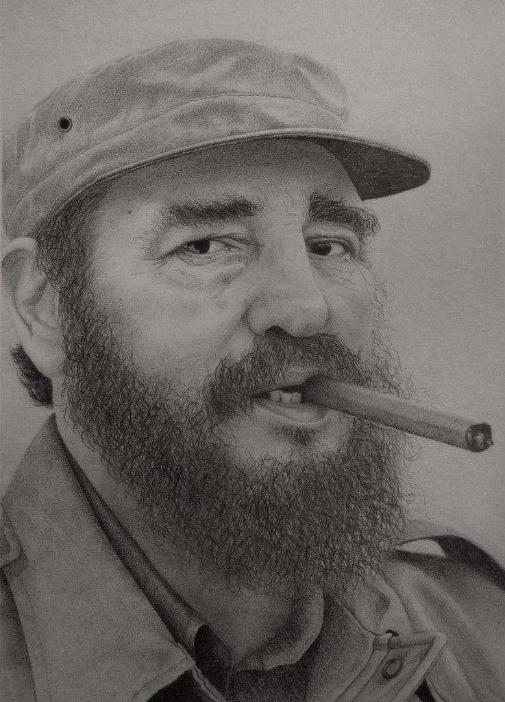 Fidel Castro, retrato a lápiz 30 x 40 cm, pencil drawing