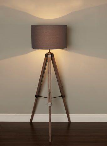 Bhs Illuminate Harley Tripod Floor Lamp Industrial Wooden Antique Style Floor Light