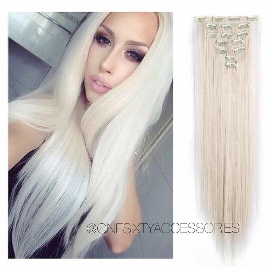 White Blonde Remy Human Hair Clip In Hair Extensions 24 Straight