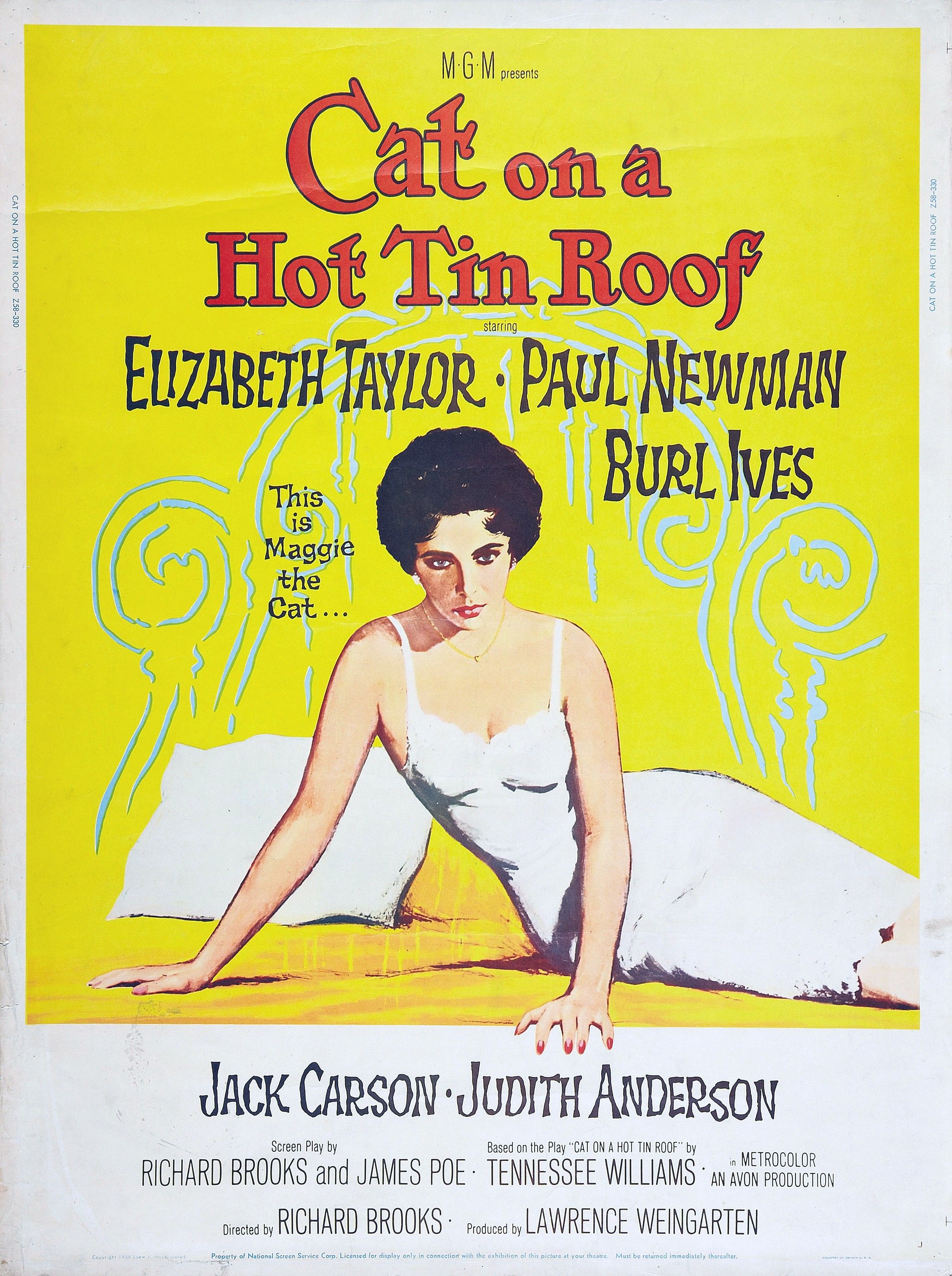 """Cat on a Hot Tin Roof"" (1958). COUNTRY United States"