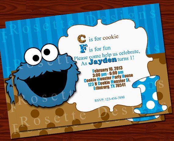 COOKIE MONSTER birthday invitation Digital by ...